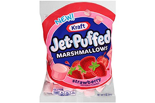 Kraft, Jet-Puffed, Snacking Marshmallows, 3oz Bag (Pack of 4) (Choose Flavors Below) (Strawberry)