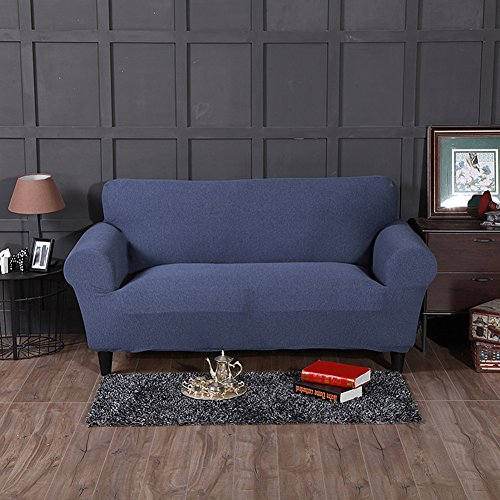FORCHEER Loveseat Covers Stretch Slipcovers for 2 Cushion Couch Sofa Cover Braided Pattern Loveseat Slipcover (Denim ()