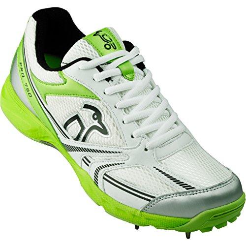 KOOKABURRA Pro 750Spike pour Homme Chaussures de Cricket pour Adulte Blanc/vert