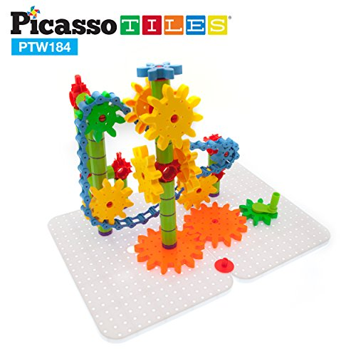 PicassoTiles PTW184 184pcs 3D Interlocking Gear Spinning Wheel Toy Kit STEM Building Learning Toy w/Construction Stabilizer Base, Turning Chain Link, Storage Container Free Architectural Idea - Link Interlocking