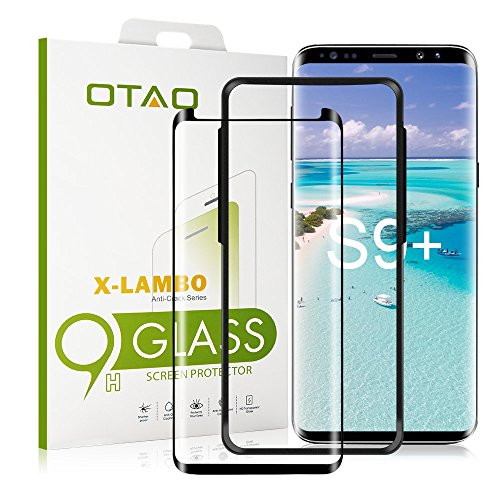 Galaxy S9 Plus Glass Screen Protector, [Update Version] OTAO 3D Curved Dot Matrix Samsung S9 PLUS Tempered Glass Screen Protector 2018 with Easy Installation Tray (Case Friendly) (NOT S9 )
