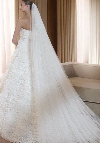 Qishis Long 118 Inches Double Layer Accesory Wedding Bridal Veil