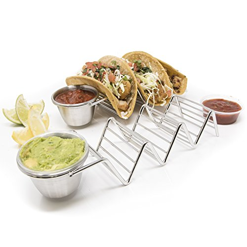 - 2 Pack - Stylish Stainless Steel Taco Holder Stand with Sauce Cup, Taco Truck Tray Style, Rack Holds Up to 3 Tacos Each, Oven Safe for Baking, Dishwasher and Grill Safe by Alpha Living