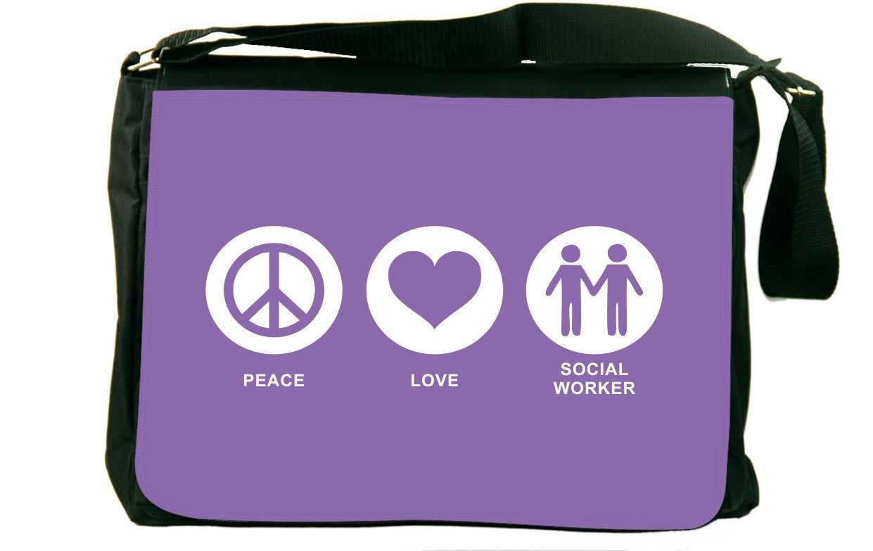 Rikki Knight Peace Love Social Worker Violet Color Messenger Bag School Bag