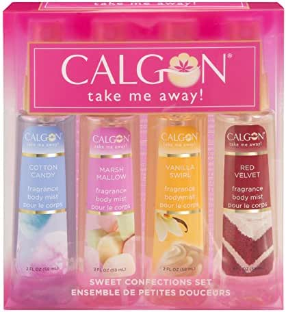 Calgon Take Me Away 4 Piece Gift Set (Refreshing Body Mist 2.0 Ounce Of Cotton Candy Marsh Mallow Vanilla Swirl & Red Velvet) for Women