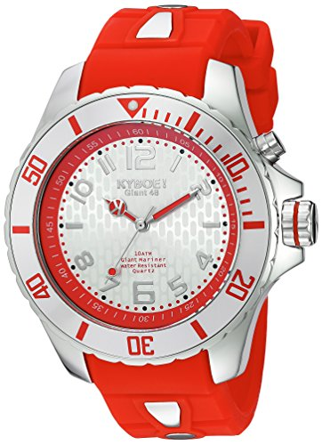 KYBOE! 'Power' Quartz Stainless Steel and Silicone Casual Watch, Color:Red (Model: KY.48-029.15)