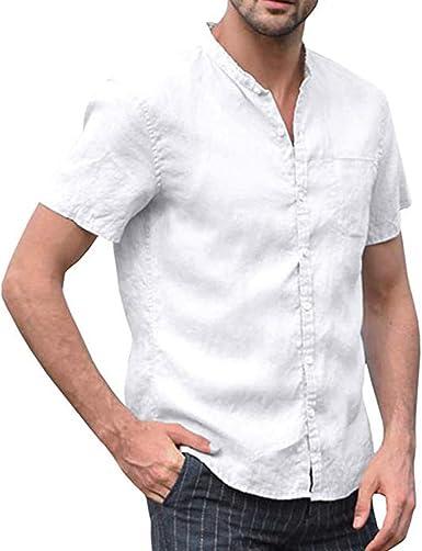 Camisetas de Hombre, Camisa de Hombre Casual de algodón y Lino Camisa con Botones, Camiseta de Manga Corta Estilo Retro Color sólido Blanco L: Amazon.es: Ropa y accesorios