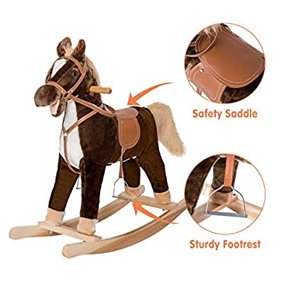 Kinbor Child Rocking Horse Pony Ride on Plush Toy with Realistic Sounds Brown: Toys & Games