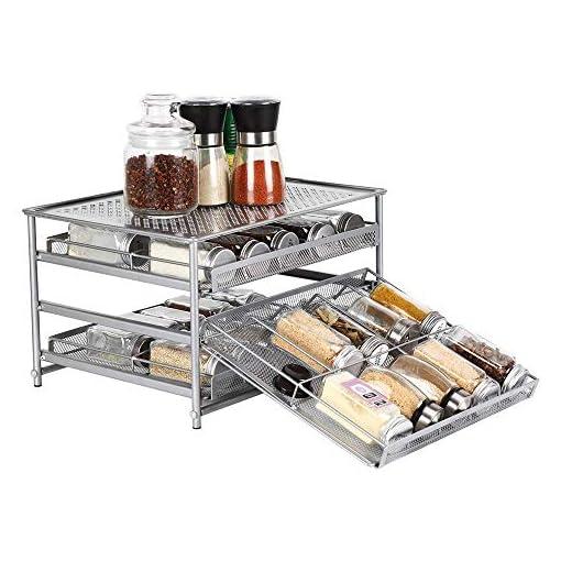 Kitchen NEX 3-Tier Spice Rack, 30 Bottle & 24 Bottle Standing Spice Drawer Storage Organizer for Kitchen Cabinet Countertop… spice racks
