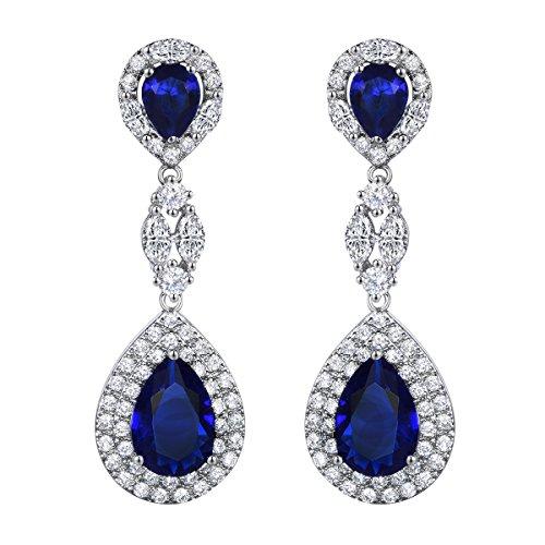 SELOVO Women's Elegant Royal Blue Teardrop Cubic Zirconia Dangle Earrings Silver Tone