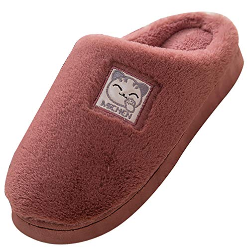 KUIBU Men Women Soft Faux Fur Lined Suede House Home Anti-Skid Winter Indoor Outdoor Warm Slippers Boots ()