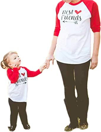 """Family Matching T-Shirt Mommy and Me Crew O Neck Long Sleeve /""""Best Friends/"""" Letter Print Tops Blouse Outfits"""