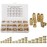 HanTof 300-Pcs 15 Kinds M2 M3 M4 Female Thread Brass Knurled Threaded Insert Embedment Nuts Assortment Kit