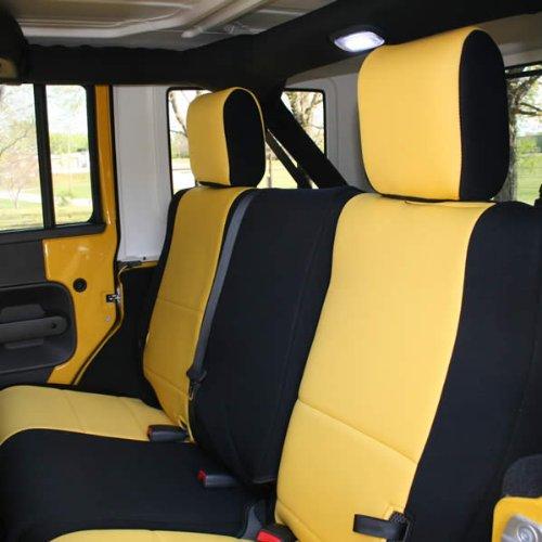 Coverking Custom Fit Seat Cover for Jeep Wrangler JK 2-Door - (Neoprene, Black/Yellow)