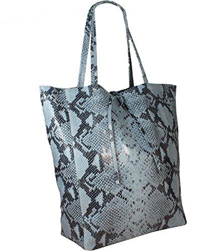 Print Cabas Snake In Italy Made Pour Blau Freyfashion Femme Hf4FBwWq