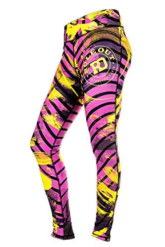 Rule Out Leggins Negro rayas. Compresión pantalones entrenamiento. Gimnasio Correr Fitness Ciclismo. Informal Ropa Bailar Morado / Amarillo