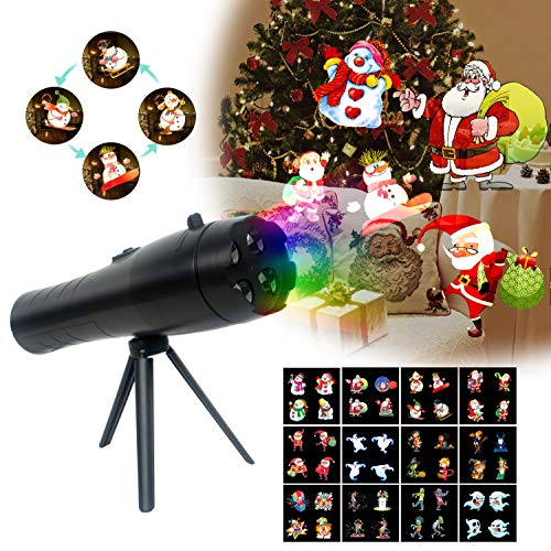 LED Christmas Flashlight Projector Light, Kids Handheld Animation Projection Flashlight with 12 Patterns Indoor Lighting for Holloween Decor, Easter Party, Birthday, Christmas
