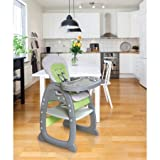 Badger Basket Envee II Baby High Chair with Playtable Conversion, Gray and Green