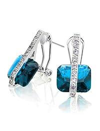 Bling Jewelry Simulated Aquamarine CZ Omega Earrings Rhodium Plated Brass