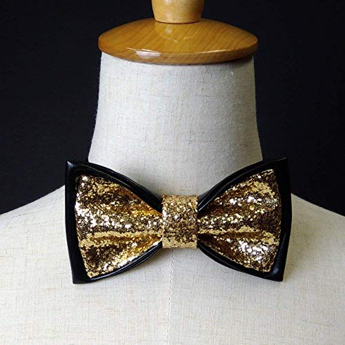 Glitter bow tie, Gold glitter and black pre-tied bow tie, glitter bow tie for men, gold glitter bow tie for men, Sparkling bow tie for men, Dream Up Idea -