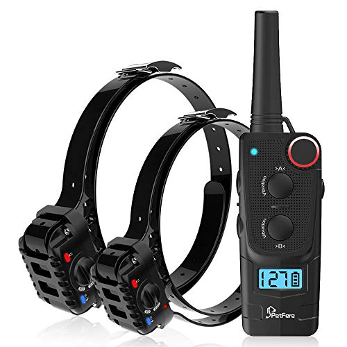 PetFere Dog Training Collar, Dog Shock Collar with Remote Rechargeable IP67 Waterproof No Bark Dog Collar Small/Medium/Large Dogs