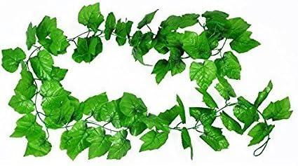 HL Technology Artificial Plants Green Grape Vine 2.4m Green Leaves Fake Plant Plastic Simulation Flowers Vines for Courtyard Decoration