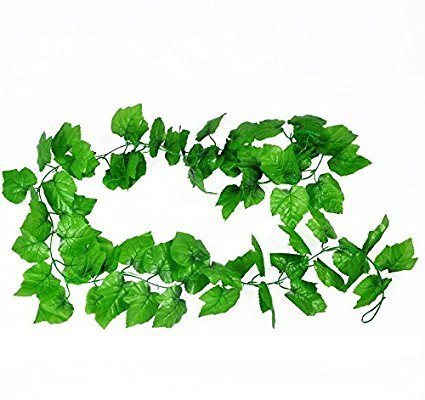 (HL Technology Artificial Plants Green Grape Vine 2.4m Green Leaves Fake Plant Plastic Simulation Flowers Vines for Courtyard Decoration)
