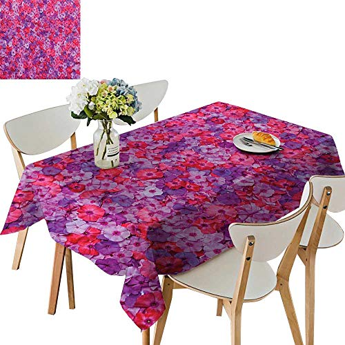 UHOO2018 Printed Fabric Tablecloth Square/Rectangle Pattern Flowering Aromatic Vibrant Colors Work Wedding Party Restaurant,52 x 70inch