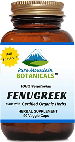Fenugreek 90 Caps (Organic Fenugreek Capsules - 90 Kosher Vegetarian Caps - Now with 575mg Certified Organic Fenugreek Seed Powder by Pure Mountain Botanicals)
