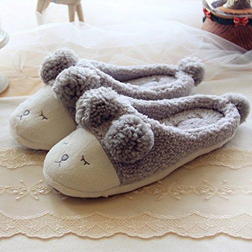 Gris Adultes Fortuning's En Jds Pantoufles Chaussures Couple Molleton Confortable Agréable Unisexe Mouton Merveilleuse 1q7qTwE