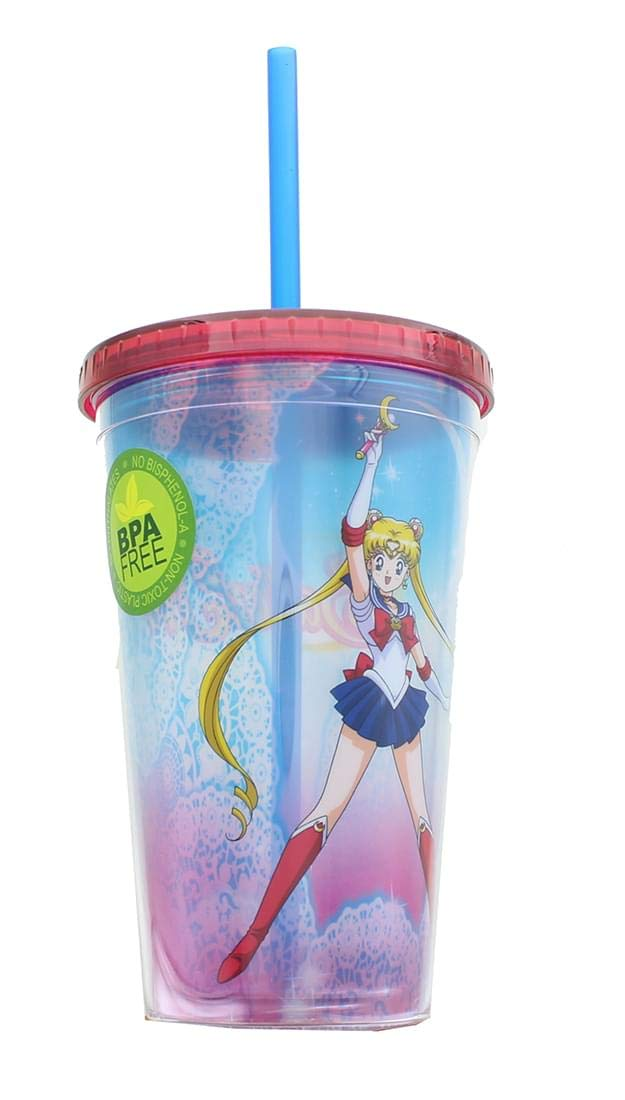 JUST FUNKY Sailor Moon Lace 16oz Carnival Cup w// Lid /& Straw