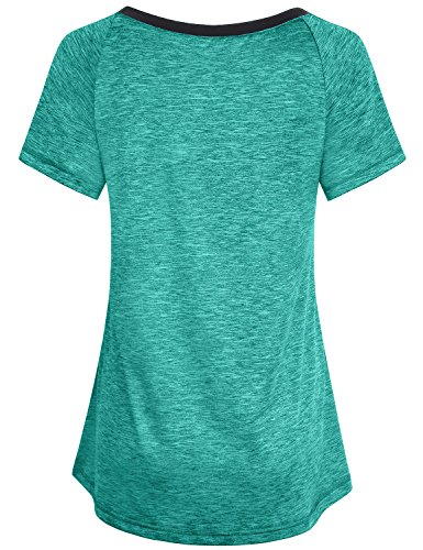 Miusey Exercise Tops for Women, Girls Dry Fit Shirts Short Sleeve Raglan Althetic Wear V Neck Chic Elastic Smooth Running Tunic Activewear Workout Fitness Tees Green M by Miusey (Image #1)