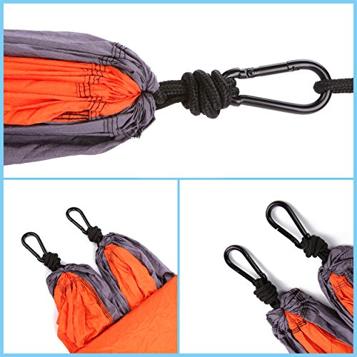 """Soufull Outdoor Travel Lightweight Portable Nylon Parachute Multifunctional Camping Hammocks with Straps and Carabiners (Orange, 110""""L × 55""""W)"""