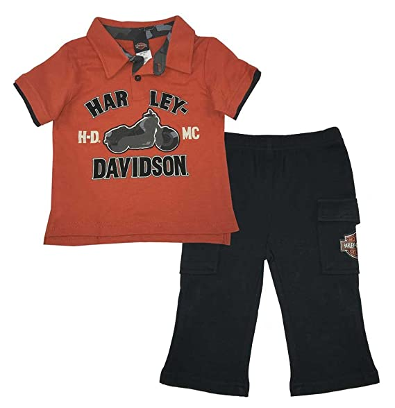 6b8d7b4d Harley-Davidson Little Boys' 2 Piece Interlock Polo Shirt & Woven Pant Set (
