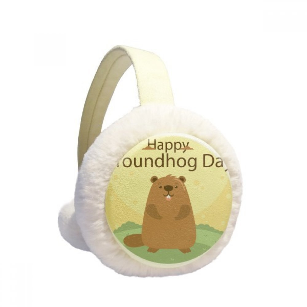 US and Canada Groundhog Day February Winter Earmuffs Ear Warmers Faux Fur Foldable Plush Outdoor Gift
