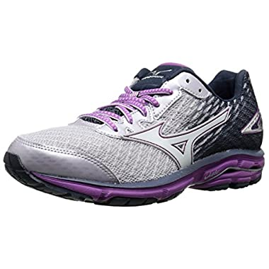 Mizuno Women's Wave Rider 19 Running Shoe, Lilac Marble/White, 8.5 B US