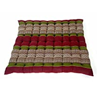 Design by UnseenThailand Meditation Zabuton Mat, Kapok Fabric, 30x28x2 inches. (Red - Green)
