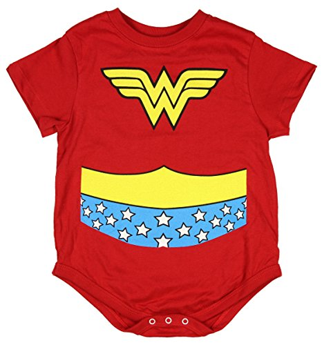 Wonder Woman Uniform Costume Red Snapsuit Infant Onesie Baby Romper (24 Months)