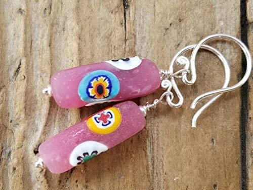 Pink Vintage Venetian Glass and Sterling Silver Earrings