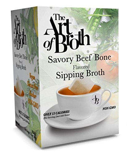 Broth Flavored - The Art of Broth Beef Broth, Savory Beef Flavored Sipping Broth Bag, Non-GMO, Vegan, Gluten-Free, Kosher (Pack of 20)