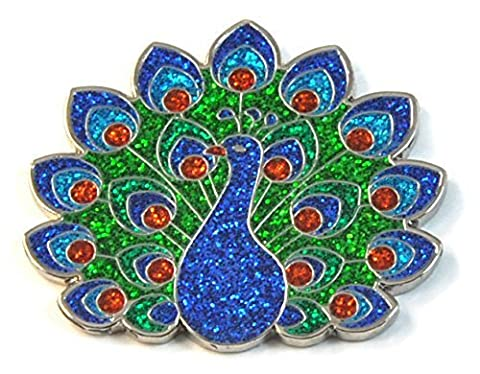 Navika Glitzy Peacock Ball Marker with Magnetic Hat Clip - Magnetic Ball Marker