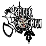 Creative Handmade Spiderman Black Vintage Vinyl Clock For Sale