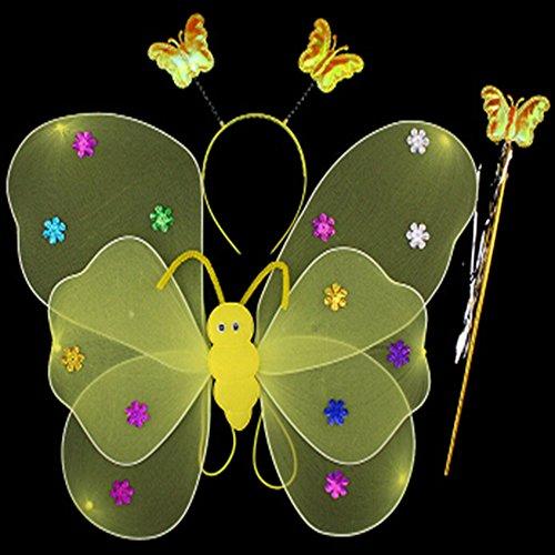 Folding Wings Costume (Spritech(TM) Girls Performance Kit Set Butterfly Wings Headband Yellow)