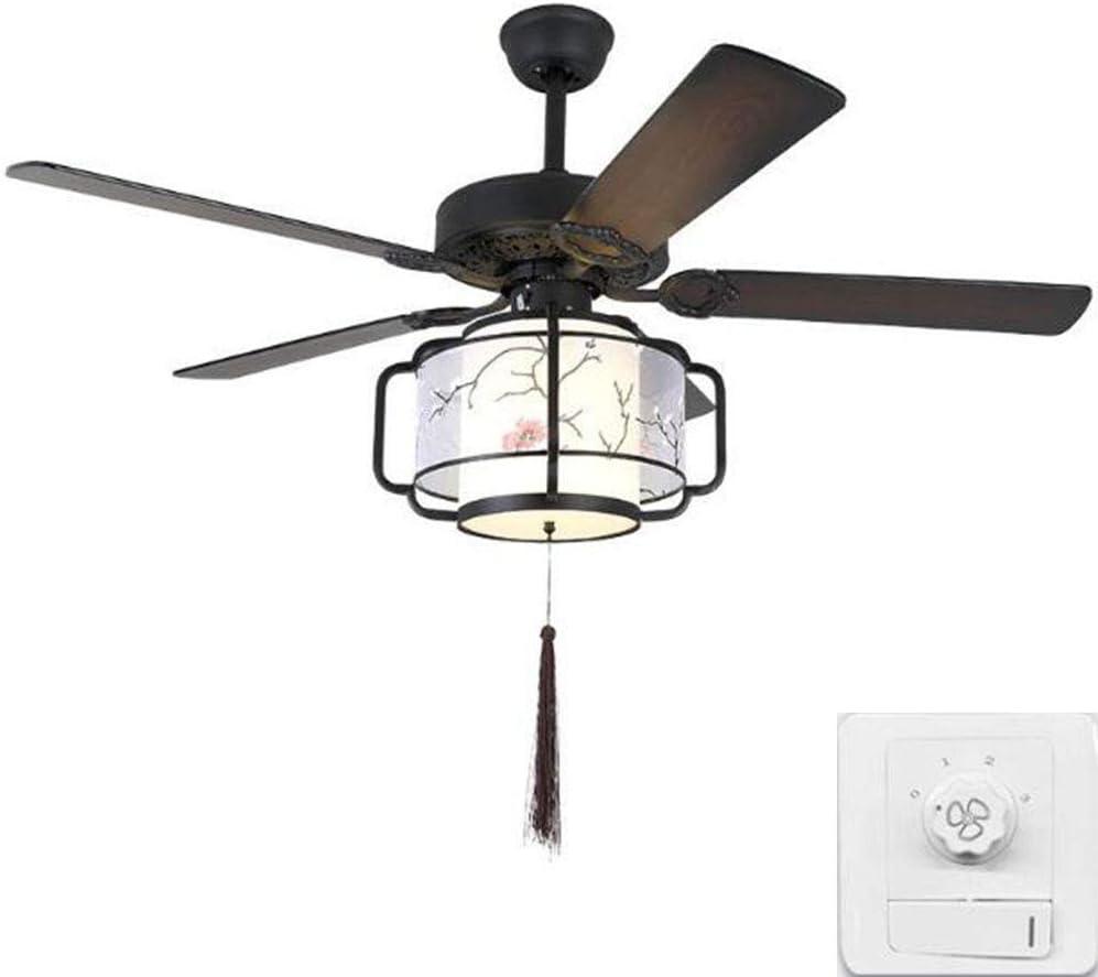 Ventilador de Techo con Luz Lámpara 130cm 5 Hojas de Madera ReversióN Positiva Retro Casa de Te Casa LED Tricolor Oscurecimiento (A, Control de pared)