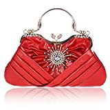 Damara Womens Sunflower Crystal Front Pleated Evening Tote Bag,Red
