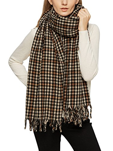 Plaid Scarf - Urban CoCo Women's Tartan Plaid Blanket Scarf Winter Checked Wrap Shawl (Series 4 coffee)