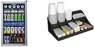 NewAir 126 Can Freestanding Beverage Fridge, Stainless Steel - Limited Edition Design & Mind Reader 11 Compartment Breakroom Coffee Condiment Organizer, Black