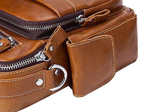 Genda 2Archer Imballaggio Manuale di Pelle Vera Degli Uomini Sacchetto di Messaggistica Aziendale (20cm*6.5 cm*23cm)
