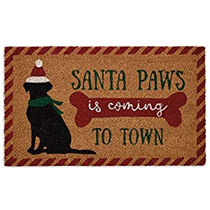 DII Indoor/Outdoor Natural Coir Holiday Season Doormat, 18x30, Santa Paws