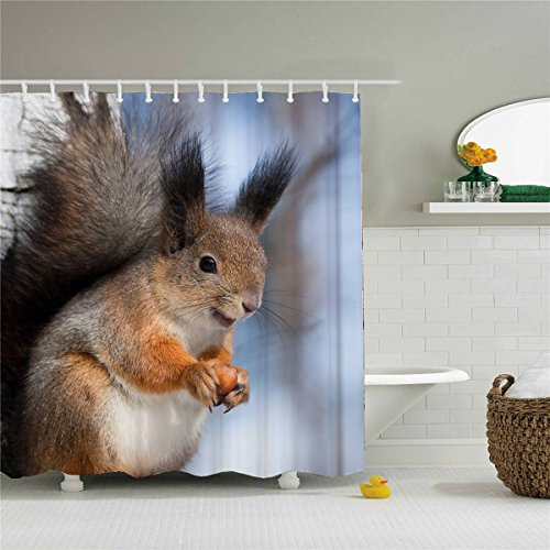 Neutral Animal Shower Curtain Squirrel Great Quality Polyester 100% -72